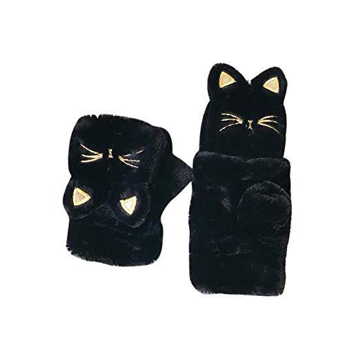 Cocila Fäustlinge Damen Winter warme verdicken Katze Plüschhandschuhe ohne Finger halbe Finger Flip Handschuhe(Schwarz,One size)