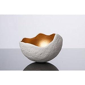 Lichtschale gold - M (20cm) - Beton weiss - Unikat handmade - Geburtstagsgeschenk - Einzigartiges Geschenk - Gartendeko