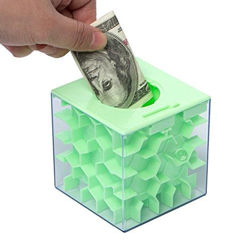Lustige Geldgeschenke Verpackung Geburtstag, Labyrinth, Abschließbar Spardose – Perfekte 3 in 1 Geldlabyrinth für Kinder & Erwachsene (Grün) - 5