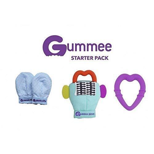 Pack GUMMEE GANTS bébé forme de cœur en Turquoise + Moufles de dentition en Bleu + Anneau de dentition en Violet