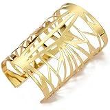 TOOGOO(R) Bracelet Gourmette Jonc Manchette Ouvert En Metal Ajoure Or Femme Fille