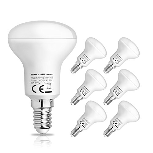 SHINE HAI Reflector R50 E14 LED Bulbs, 4.5W (40W Filament Bulbs Equivalent), 3000K Warm White LED E14 Small Edison Screw Lamp, Non-Dimmable, 350Lm, LED Light Bulb, SES Energy Saving Bulbs, 6-Pack