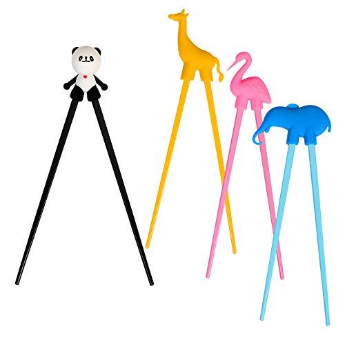 4 Paar Training Essstäbchen,LANMOK Japanische Besteck Set Tiere Lernen Stäbchen für Erwachsene Anfänger Kinder Senioren Chopsticks- Panda Flamingo Giraffe Elefant
