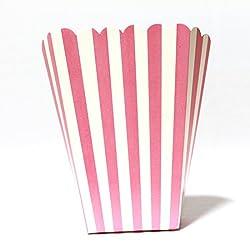 PrettyurParty Pink Stripes Popcorn Box - (Pack of 10)