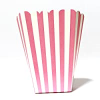PrettyurParty Pink Stripes Popcorn Box - (Pack of 10)