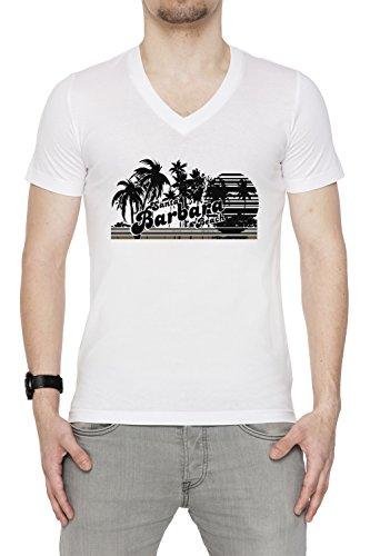 Santa Barbara Beach Uomo V-Collo T-shirt Bianco Cotone Maniche Corte White Men's V-neck T-shirt