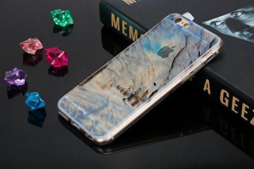 Felfy pour iPhone 6 Plus Silicone Case,iPhone 6S Plus Coque Coque Souple Transparente TPU Silicone en Gel Case Premium Ultra-Light Ultra-Mince Skin de Protection Pare-Chocs Anti-Choc Bumper pour Apple Bois de Neige