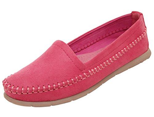 dqq jours femme Flâneur antidérapant sur Chaussures plates Rouge - Pastèque