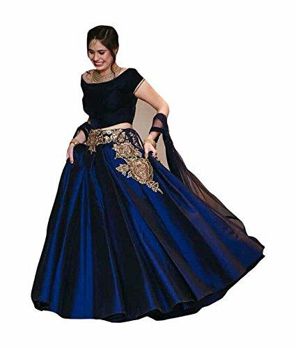 FebForrest Women\'s Navy Blue Tapeta Sil Attractative Workwear Semi-Stitched Lahenga Choli (Free Size) [SL 85 (FF_M1)_Navy Blue]