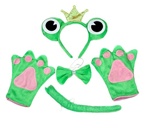 Petitebelle Crown Frog Headband Bowtie Tail Glove 4pc Halloween Costume for Kid (One ()