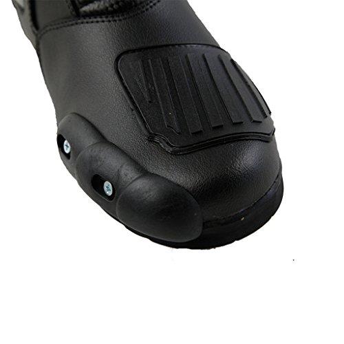 Lemoko Leder Motorradstiefel mit Kunststoffverstärkungen schwarz rot, Gr. 44 - 5