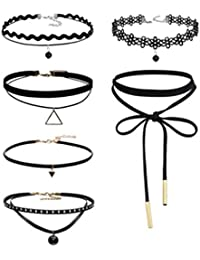 HENGSONG Noir Choker Retro Ornements Collier Set Double Tressé Harajuku Collier Tattoo Collar (Style8)