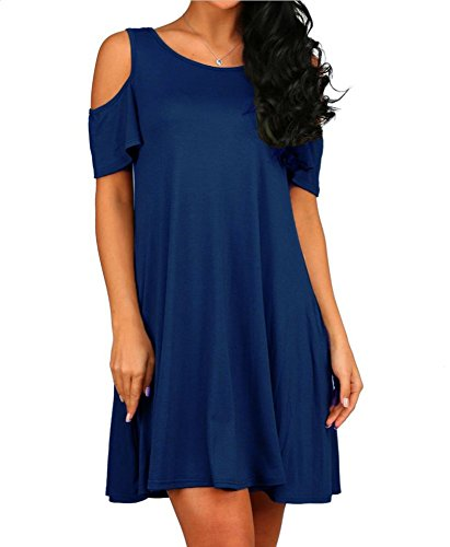 HAOMEILI Damen Langarm Kalte Schulter Swing Kleid Tank Top Loose Casual T-Shirt Kleid mit Pocket (S(EU 34-36), Navy Blau) (Kleid Casual Damen)