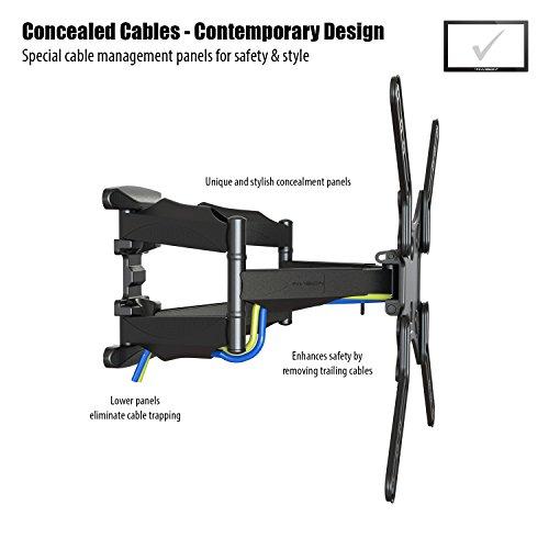 Invision TV Wandhalterung - Ultrastarker Doppelarm - Schwenkbar Neigbar für 60-140 cm (24-55 Zoll) - für LED LCD OLED Plasma Curved Fernseher – Max VESA 400 mit HDMI Kabel und Wasserwaage (HDTV-DL)