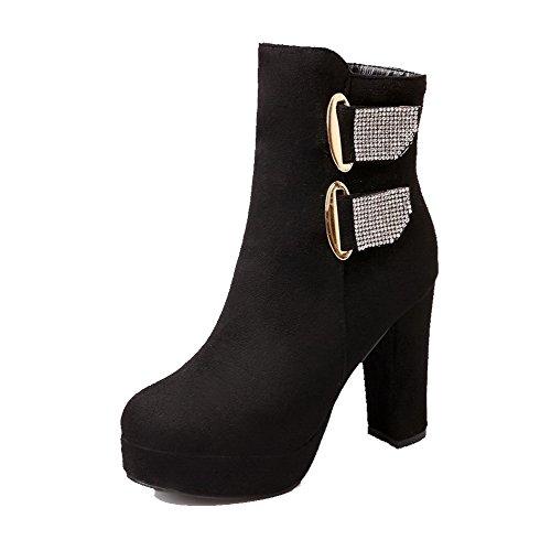 VogueZone009 Damen Eingelegt Reißverschluss Stiefel mit Beschlagene Strass, Cremefarben, 40