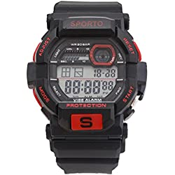 Men's/Boys Designer Sporto Black And Red Sports Digital Watch Plastic Strap Watch Retro Style