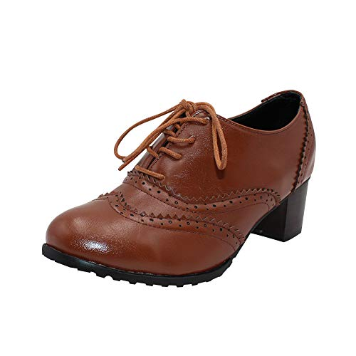 30d179bc Uirend Zapatos para Mujer Botas - Damas Vintage Cordones Cuero Chunky Talón  del Bloque Oxfords Botines