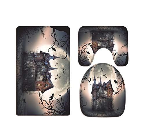 A.Monamour Badezimmer Badematte 3 Teilig Set Spukhaus Dunkel Himmel Mond Gothic Halloween Urlaub Dekore Toilettenkappen Abdeckungen Flanell Saugfähig Badteppiche Badvorleger Badgarnitur WC Vorleger