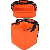VGEBY Cubo de Pesca Plegable Cubo Plegable Contenedor de Agua Plegable EVA Forma Cuadrada 12L con Tapa y práctico Bolsillo de Malla para Herramientas