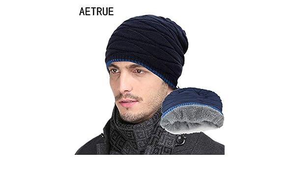 5271e8bc7f7 World 2 home 2018 Arrival Beanies Knitted Hat Men s Winter Hats for Women  Men Caps Gorros Warm Moto Fur Winter Beanie Fleece Knit Bonnet Hat   Amazon.in  ...