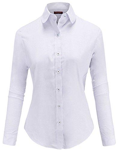Dioufond® Damen Bluse Schlank Oxford Arbeithemd Hemdkragen mit Knöpfe Business Bluse Bügelfrei (3XL, Weiß) (Langarm Damen Oxford)