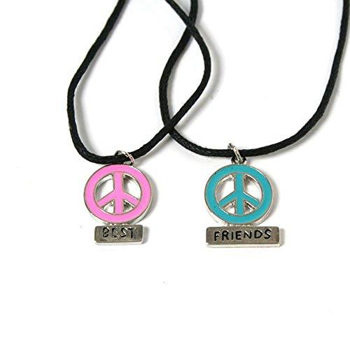 Freundschaftsketten mit Anhänger Best Friends Peace-Zeichen rosa und blau mit schwarzes Textilband (Symbol Zeichen Rosa Peace)