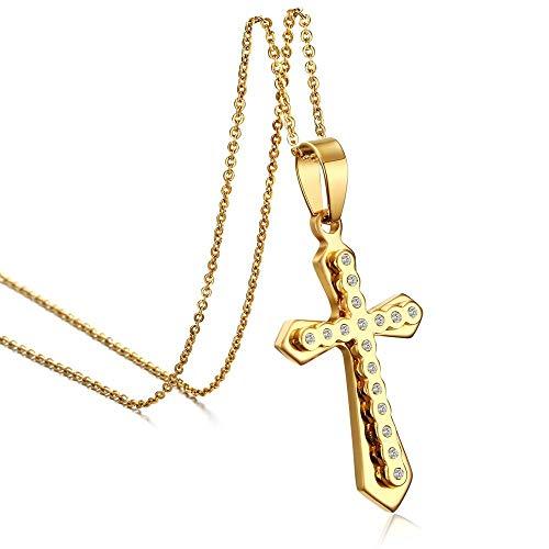 Titan Stahl Halskette Männer Und Frauen Einfache Punk-Mode Gold Diamant Kreuz Anhänger Trend Geschenk Kreative Persönlichkeit Vintage Pop (Männer Gold Diamant Kreuz Anhänger)