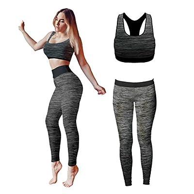 Bonjour®, Damen-Sportbekleidung für Yoga oder Fitness, Weste und bauchfreies Top und Leggings, Stretch-Fit