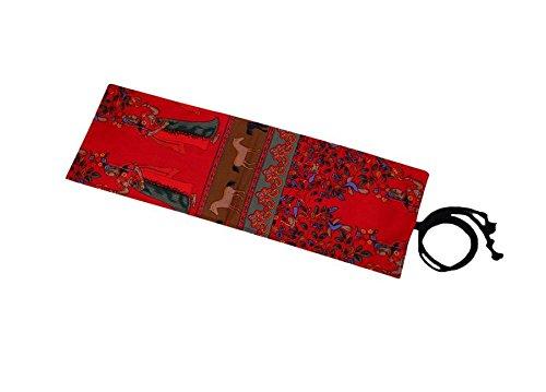 omeny 36agujeros lienzo étnico Wrap Roll up Estuche Bolsa titular de rack de almacenamiento organizador (rojo)