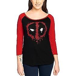 Deadpool Splatter Logo Manga Larga Mujer Negro/Rojo M