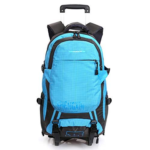 Rucksäcke mit Rollen Geschäftsreisender 19-Zoll Laptop-Rucksack Große Kapazität Handgepäck-Tasche Abnehmbare Trolley-Tasche für Schulsportler,Blue