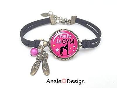 Bracelet GYM, cadeau gym, bijou gymnastique J'peux pas J'ai GYM cabochon rose noir fille Gymnastique Bijoux GYM