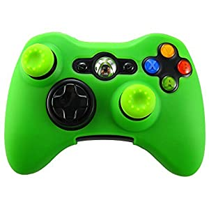 Pandaren Silikon hülle skin für Xbox 360 controller (grün) x 1 + thumb grip aufsätze x 2