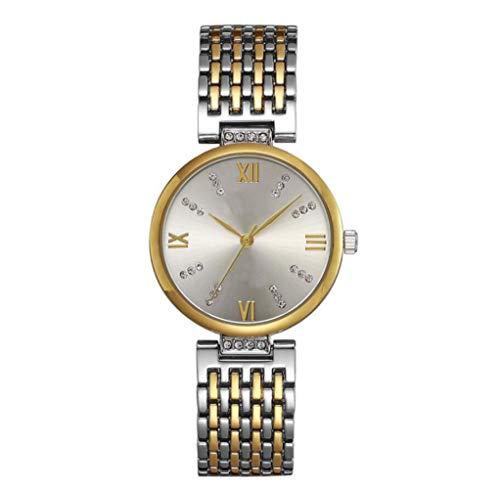 XueXw Reloj De Diamantes De Lujo De Lujo De Alto Grado De Moda De Acero Correa De Reloj Impermeable del Estudiante De Mesa De Navidad Regalo De Cumpleaños,Silver-OneSize
