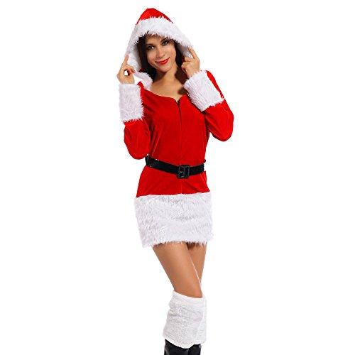 Sexy Weihnachtsmann Kostuem Kleiner Helfer Elfe Weihnachten Santa Weihnachtsfrau Damen (Outfit Miss Kleine Santa)