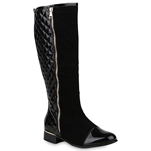 Gefütterte Damen Schuhe Stiefel High Heels Holzoptikabsatz Elegant 153205 Schwarz Carlet 39   Flandell®