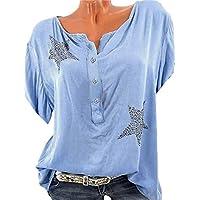 Camiseta Retro Camiseta Cuello Redondo sin Mangas Seven Points Five Star Hot Piercing para Mujer Camiseta Camiseta cómoda Ropa de Mujer