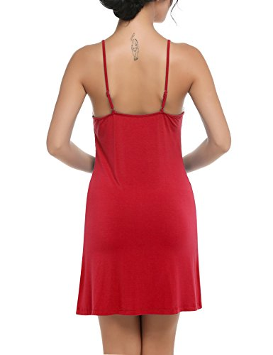 Ekouaer Donna Sleepwear Slip Chemise Abito Salotto Laccetti regolabili Rosso