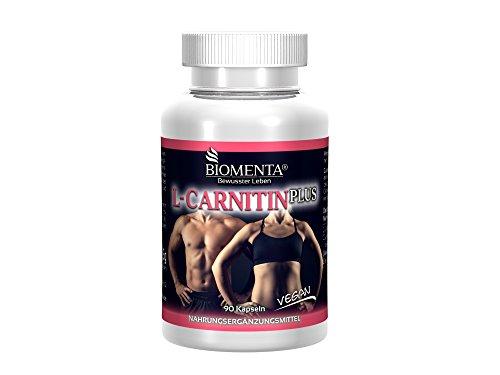 Biomenta L-CARNITINA PLUS - con L-Carnitina + Guarana + Caffeina + Melone Amaro + Bioflavonoidi di agrumi - 90 vegano Fat-Burner Caffeina Capsule