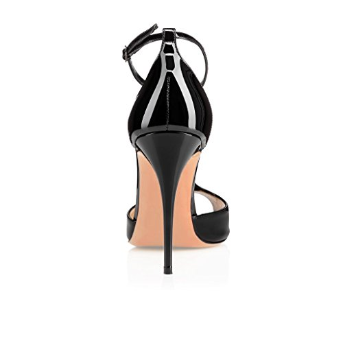 EDEFS Damen T-Spangen Pumps Stiletto Heels Knöchelriemchen Schuhe mit T-Strap Schwarz