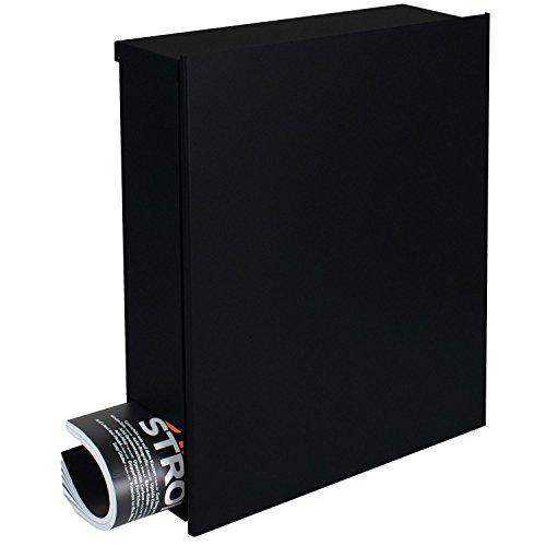 MOCAVI Box 111 Boîte aux lettres murale design avec compartiment journaux, noir (RAL 9005), 12 litres, serrure sur la droite, grande boîte à lettres noir foncé moderne avec porte-journaux