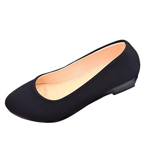 BOZEVON Donna Moda Classico Ballerine Mary Jane Scarpe Basse Loafers Sandali, rosso nero-cono B