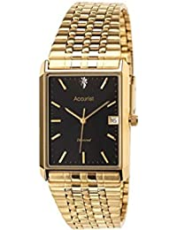 Accurist Men's Quartz Watch with Black Dial Analogue Display and Gold Stainless Steel Plated Bracelet MB955B.01