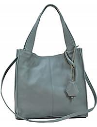 ed73648804e6e Bozana Bag Nina Hellblau Blau Italy Designer Damen Handtasche Ledertasche  Tasche Wildleder Prägung…