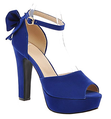 YE Damen Peep Toe Blockabsatz High Heels Plateau Wildleder