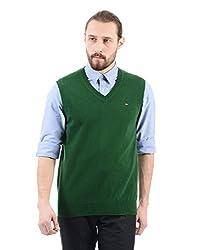 Arrow Sports Mens Wool Sweater (AKMS7819_Dk. Green_Small)