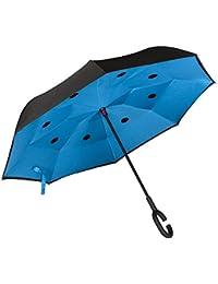Paraguas Inverso Antigoteo para Coche. Abre y Cierra al Revés. Paraguas Original de Mujer y Hombre, Grande, Antiviento, de Calidad. Asa forma de C o Recto. Regalo: Colgador y Bolsa.