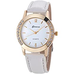 WINWINTOM Women Diamond Analog Leather Quartz Wrist Watch White
