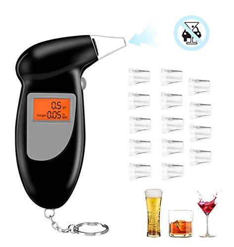 O-Kinee Alcoholimetros, Probador de Alcohol Portátil con Pantalla LCD Sensor de Semiconductores, Profesional...