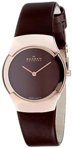 Reloj de mujer Skagen Swiss Slimline 582SRLM de cuarzo (suizo), correa de piel color marrón de Skagen